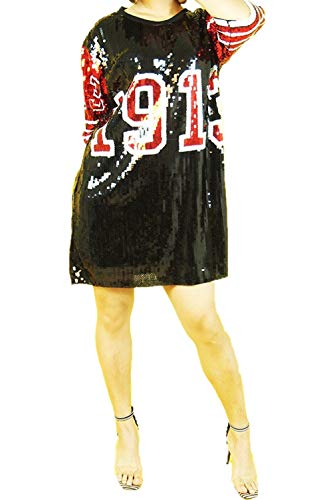 STAY CHIC Sequins Short Sleeve 08 Print Casual Mini Dress (One Size, 13 Black/red) ()