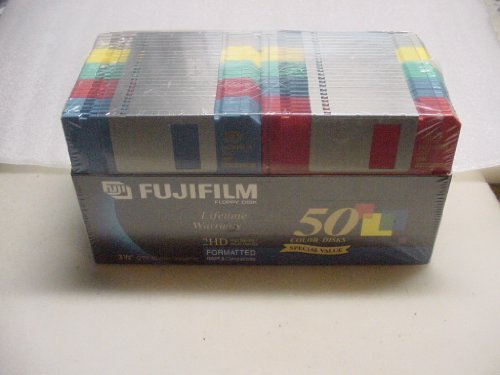 50 Color Disks Fujifilm 3 1/2 inch Floppy Disk 2HD Formatted IBM & Compatibles by 3 1/2 Inch floppy Disks