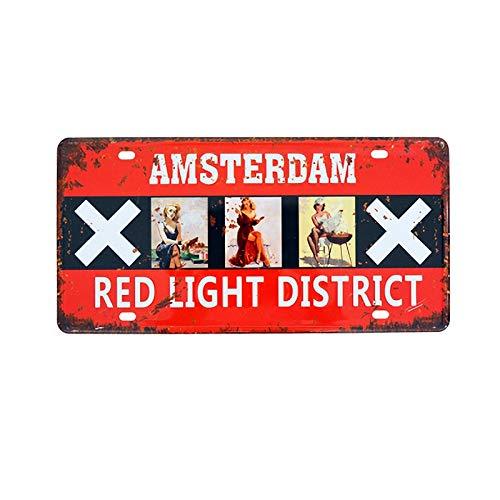 Hunnry Amsterdam Red Light District Targa in Metallo retr/ò Parete Targhe Cartello Decorazione Appendere Placca Latta Muro Segno per Garage Casa Bar Cucina Giardino