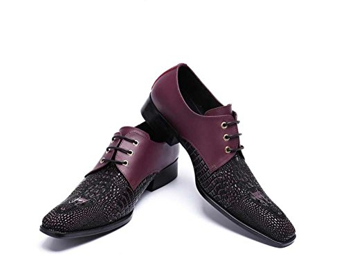Winklepicker Lace derby Rosso 46 Oxford Pump Handsome Toe Business Up da Scarpe Scarpe Eu Taglia sposa pigri Abito pelle Square Crocodile Scarpe Men Scarpe Casual Pattern in 37 qF6fpxrq8w
