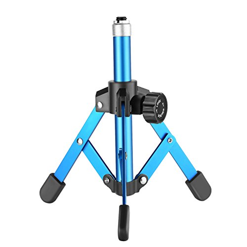 (Neewer NW-12 Mini Foldable Tabletop Microphone Stand Desktop Mic Stand, Iron Construction, Non-Slip Rubber Feet for Lectures, Podcasts, Online Chat, Meeting, Screencasts and More (Blue))
