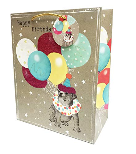 Birthday Bulldog (Happy Birthday Festive Cool Pet Themed Glitter Celebration Gift Wrapping Party Bag (Bulldog))