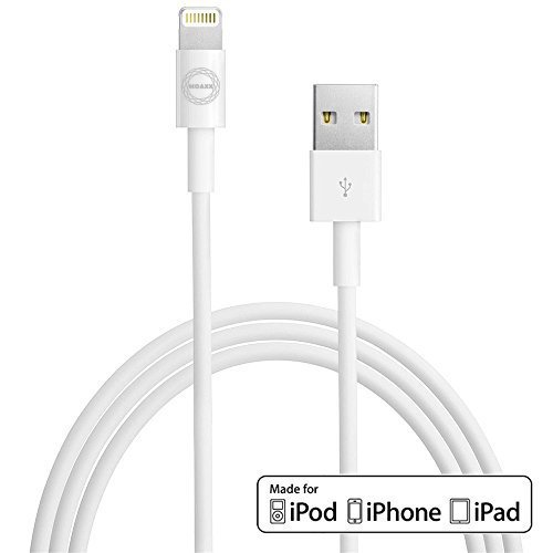 Cable (3ft) for iPhone7/7 Plus 6/6s Plus 5s/5c/5, iPad Pro Air 2, iPad mini 4 3 2, iPod touch 5th gen / 6th gen / nano 7th gen [Apple MFi Certified] (White) (Oem Mini Usb)