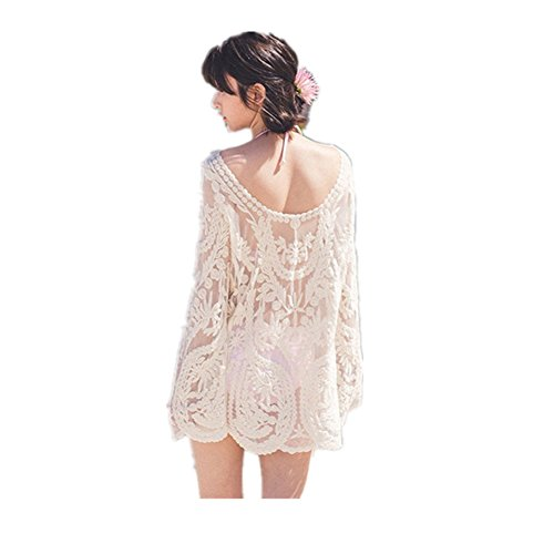 FTSUCQ Womens Lace Sleeveless Beach Bikini Swimwear Cover-up Apparel