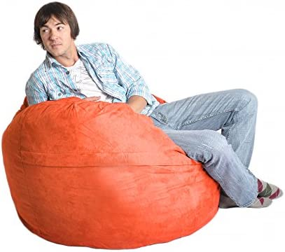 SLACKER sack 4-Feet Foam Microsuede Beanbag Chair, Large, Orange