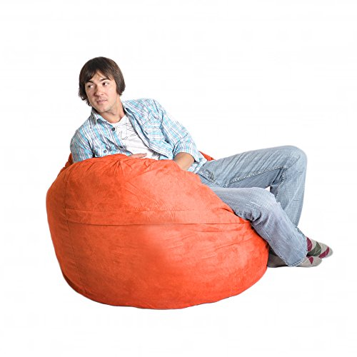 SLACKER sack 4-Feet Foam Microsuede Beanbag Chair, Large, Orange