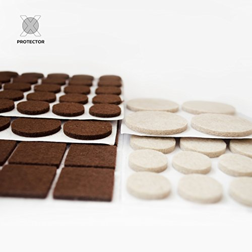 X-PROTECTOR Premium Two Colors Pack Furniture Pads 133 Piece! Felt Pads Furniture Feet Brown 106 + Beige 27 Various Sizes - Best Wood Floor Protectors. Protect Your Hardwood & Laminate Flooring