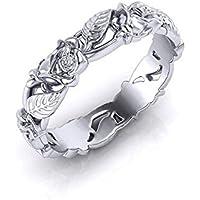 phitak shop Women Men Leaf Flower Band Ring 925 Silver White Topaz Wedding Ring Size 6-10 (7)