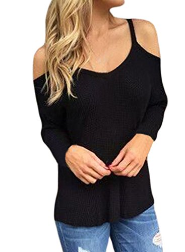 HOTAPEI Women Long Sleeve Blouse Casual Knit Pullover Sweater Black XL