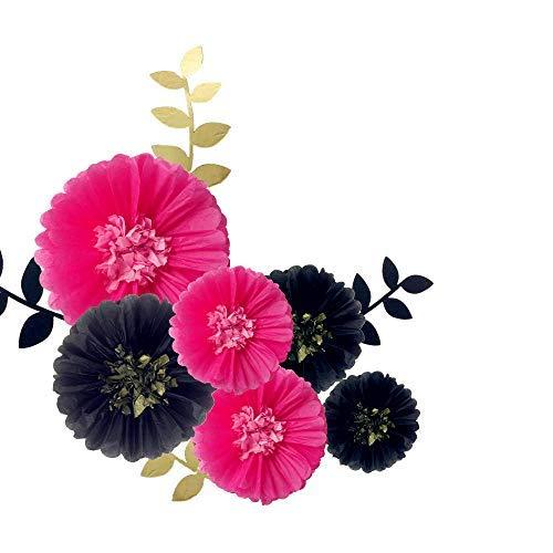 Fonder Mols Black and Fuchsia Paper Flowers Tissue Paper Chrysanth Blooms DIY Kit for Bachelorette Backdrop Nursery Wall Decor