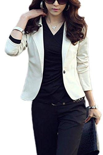 Solapa Monocolor S Blazer Abrigo Corto Office White Un Chaqueta Slim Mujeres Boton OdUfO