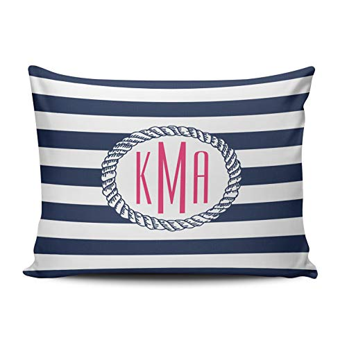 ONGING Decorative Pillowcases White Nautical Navy White Stripe Pink Monogram Customizable Cushion Rectangle Queen Size 20x30 inch Throw Pillow Cover Case Hidden Zipper One Side Design Printed