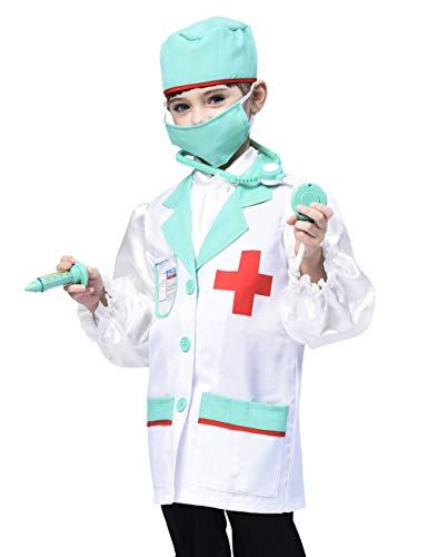 Kids Doctor Costume, Classic Lab Coats Pretend Play Outfit with Accessories (7pcs) 3-4T]()