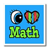 3dRose HT_106281_1 Bright Eye Heart I Love Math-Iron on Heat Transfer for Material, 8 by 8-Inch, White
