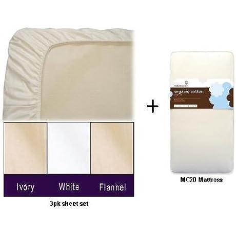 Naturepedic MC20 No Compromise Organic Classic Baby Crib Mattress WITH 3pk Organic Crib Sheets Flannel Sheet Set