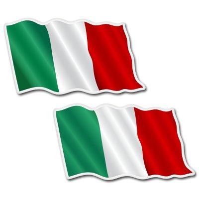 - Italy Waving Flags Set of 2 Vinyl Sticker - Car Phone Helmet - SELECT SIZE