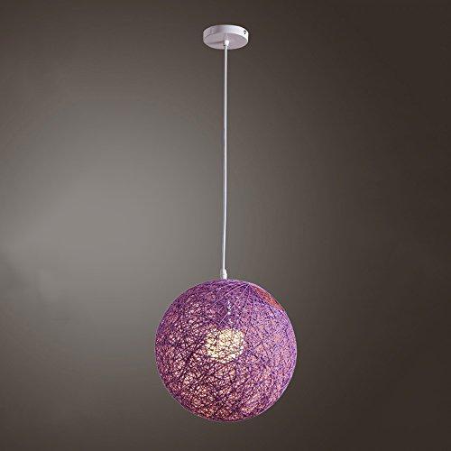 Chandeliers ronds à LED, rougein nordique couleurs de fer lustre plafonniers, plafonnier, noir, bleu, marron, beige, vert, couleur lin, Orange, rose, violet, rouge, blanc, jaune (Couleur   violet-30cm)