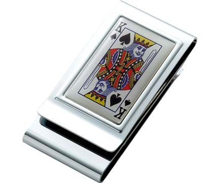 Aeropen International MC-242 King of Spades Epoxy Metal Chrome Plated 2 Sided Money Clip with Black Gift Box
