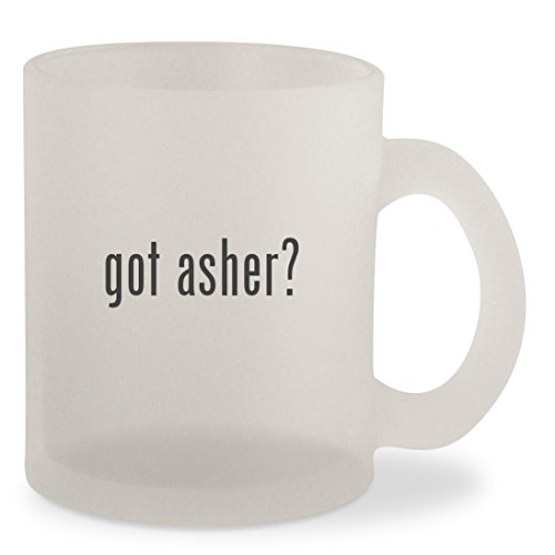 got asher? - Frosted 10oz Glass Coffee Cup Mug (Free Sugar Covered Pretzels Chocolate)