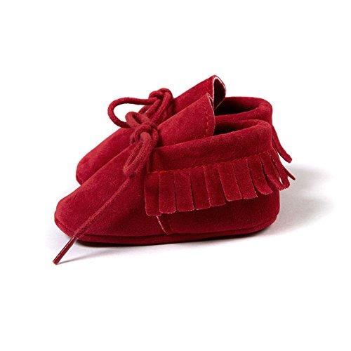ESHOO Lovely de primera Walking zapatos de borla borla de zapatillas para bebé Prewalker Dark Coffee Talla:0-6 meses rosso