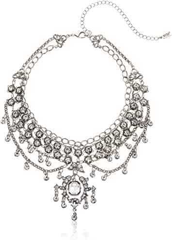 Length: 16.5 in, Ext Jay Seiler Stainless Steel Polished w//Preciosa Crystal w//1.25in V-Shape Necklace