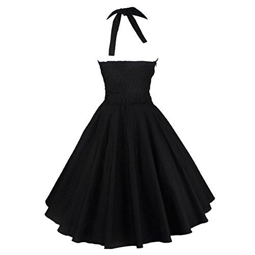 Eyekepper vestido de epoca 1950 Audrey Hepburn Rockabilly oscilacion negro