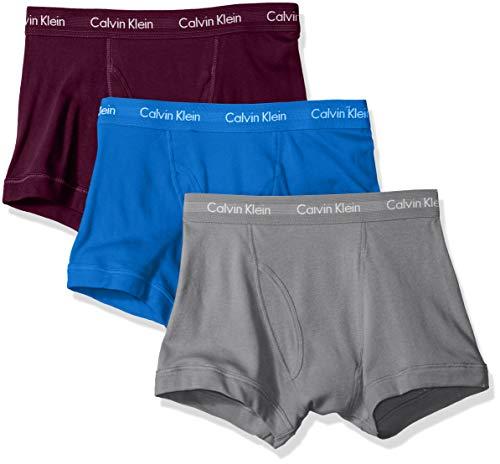 Calvin Klein Men's Underwear Cotton Classics 3 Pack Trunks, Dover Blue/Bright Plum/Monument, L