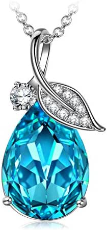 SIVERY Women Jewelry 'Teardrop of Angel' Pendant Necklace with Blue Swarovski Crystals, Jewelry for Women Gifts for Mom