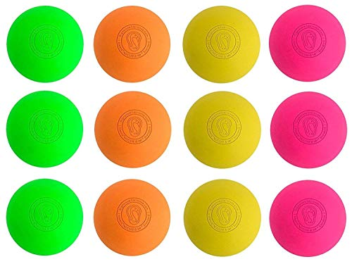 Signature Lacrosse Ball Set - Massage Balls, Myofascial Release Tools, Back Roller, Muscle Knot Remover, Firm Rubber -Scientifically Designed for Durability - 12 Ct - 3 Green 3 Orange 3 Yellow 3 Pink