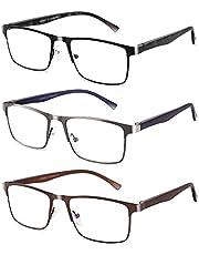 3-Pack Reading Glasses For Men Blue Light Filtering Full Frame Metal Readers