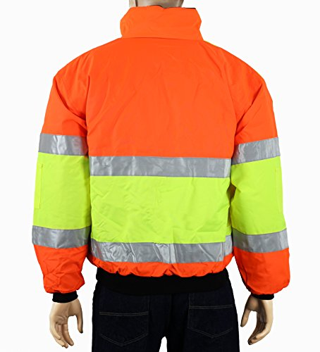 Safety Depot Cold Climate Safety Jacket ANSI Approved Class 3, Reversible, Water Resistant with Pockets (Large) by Safety Depot (Image #2)