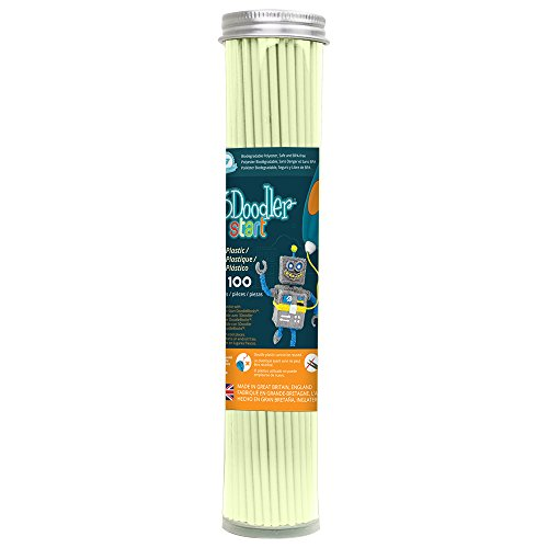 3Doodler 3DS-ECO09-GLOW-100 Start Plastic Filament Refills Tube, Ghostly Glow (X100 Strands)