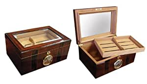 Prestige Import Group 100 Count Beveled Glass Top Humidor w/ External Hygro