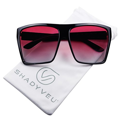 ShadyVEU - Big XL Large Square Trapezoid Shape Oversized Fashion Sunglasses (Black, Red Gradient Lens) ()