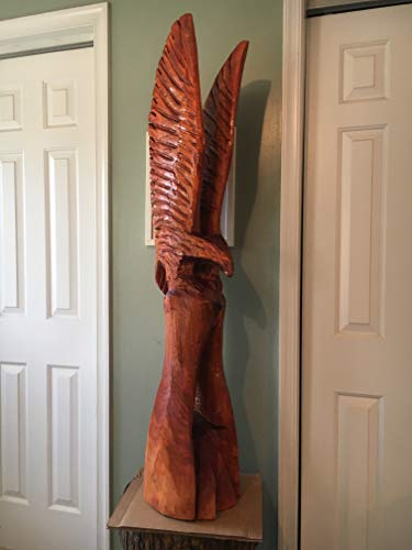 Eagle Chainsaw Carving 51 Inches Tall, Redwood Stained