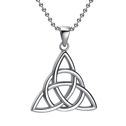 TIGRADE Stainless Steel Irish Celtic Triquetra Knot Vintage Pendant Necklace with Chain