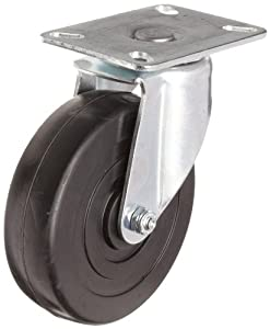 "E.R. Wagner Plate Caster, Swivel, Soft Rubber Wheel, Roller Bearing, 350 lbs Capacity, 5"" Wheel Dia, 2"" Wheel Width, 6"" Mount Height, 3-3/4"" Plate Length, 2-3/4"" Plate Width"