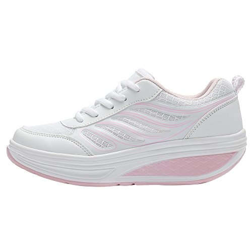 Scarpe Da Passeggio Con Piattaforma In Mesh Da Donna Bigcount Che Tonificano La Scarpa Da Ginnastica Leggera Da Allenamento Sneaker Bianca