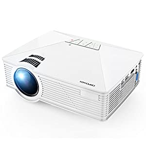 DBPOWER GP15 Portable Projector, 1800 Lumens LCD Mini Movie Projectors Support 1080P HDMI USB SD Card VGA AV for Multimedia Home Video Cinema, TV, Laptops, Games, Smartphones, White