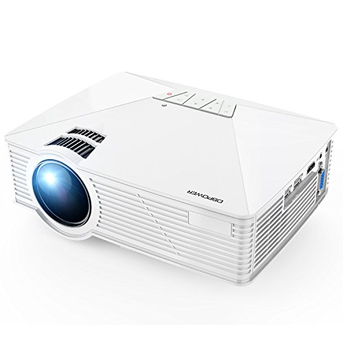 Mini Projector, DBPOWER GP15 Projector with 50,000-hour LED Life, 50% Brighter Multimedia Home Theater LED Projector, Supports 1080P, Compatible with Amazon Fire TV Stick, HDMI/VGA/AV/SD, White