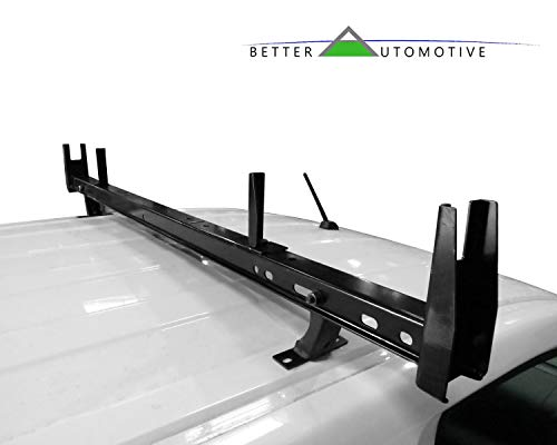 BETTER AUTOMOTIVE Universal 2 Bars Roof Ladder Rack 600 LBS Capacity Utility Adjustable Cross Bar with Stopper for Van Without Rain Gutter Fit for Kayak Canoe Ladder Lumber Pipes Cargo -