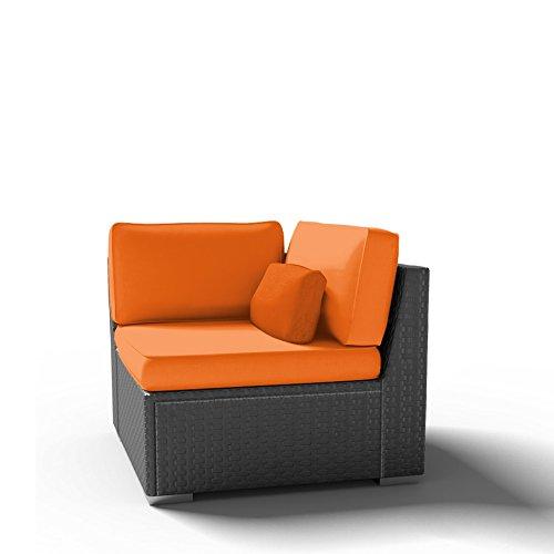Modenzi U (Right) Corner Chair Outdoor Patio Furniture Espresso Brown Wicker (Orange) Right Corner Chair