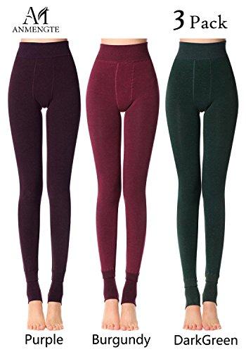 Anmengte Winter Womens Black Warm Velet Stretchy High Waist Elastics Leggings (FBA) (S/M/L, Matte5)