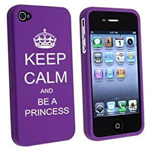 Apple iPhone 4 4S Purple Rubber Hard Case Snap on 2 piece Keep Calm and Be a Princess