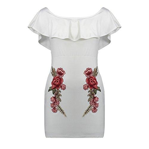 Flores Lápiz Mujer De Para Bodycon Mujer Vestido Con Hombro Descubierto Blanco Volantes Mini 11F06IqH