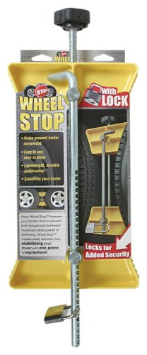 Camco RV Wheel Stop with Padlock- Stabilizes Your Trailer by Securing Tandem Tires to Prevent Movement While Parked- 26'' to 30'' Tires- Large (44642) by Camco