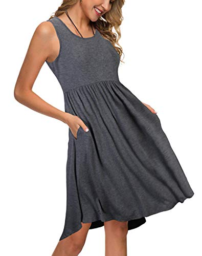 KILIG Women's Sleeveless Pockets Casual Loose Swing Flare Dress(Gray, S)