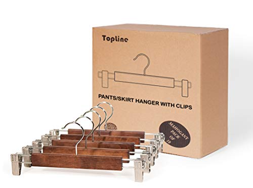 (Topline Classic Wood Pants/Skirt Hangers with Clips - Mahogany Finish (10 Pack))