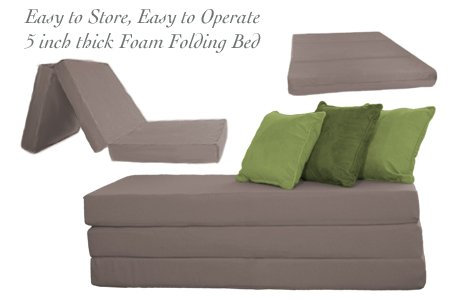 Ordinaire Amazon.com: THE FUTON SHOP 5 INCH SLEEPER CHAIR FOLDING FOAM BEDS CUSHION  DOUBLE GREY: Kitchen U0026 Dining