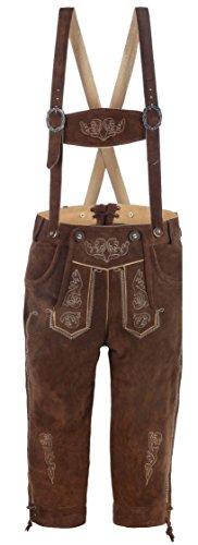 hochwertige Herren Trachten-Lederhose aus Echtleder mit traditioneller Stickerei, braun/mittelbraun, Größe 50